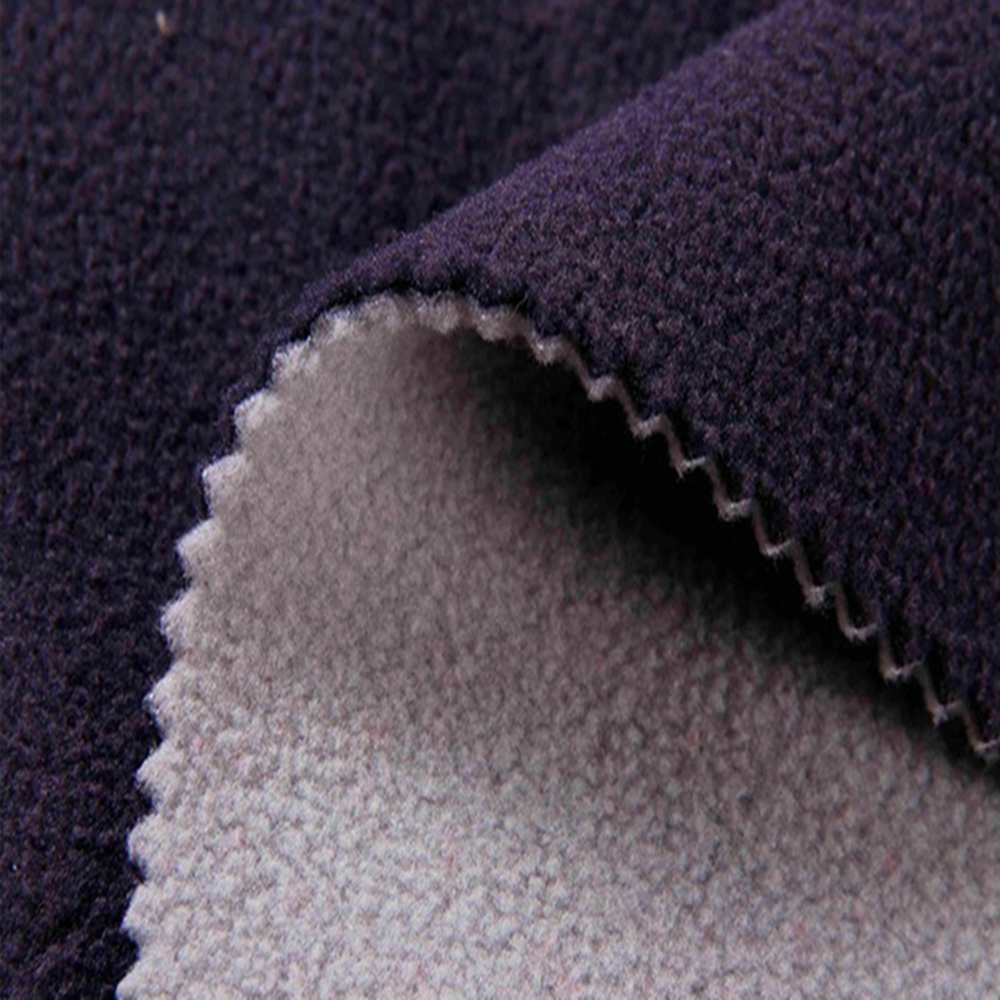 China wholesale polyester dyed double black fleece fabric
