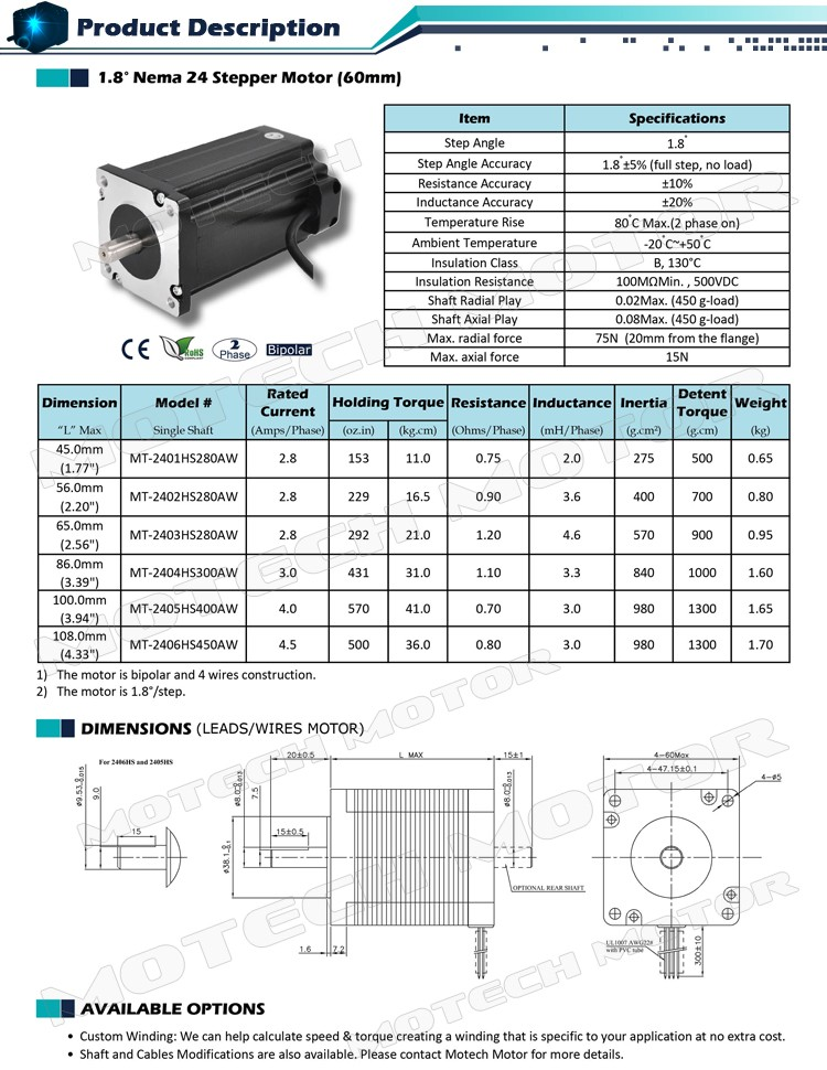 High Torque Nema 24 CNC Stepper Motor