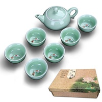 Best Selling Chinese Porcelain Handmade Ceramic Kung Fu Tea Set/Beautiful Pattern Teacup Ceramic Tea Pot