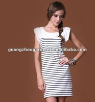 OEM 2012 fashion black and white striped dress