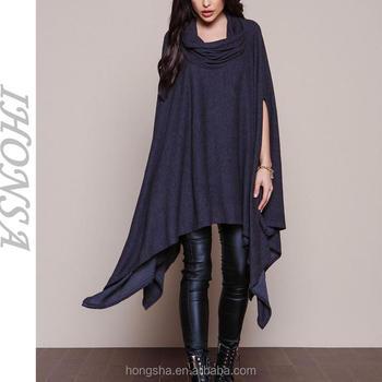 4ae4e19c6ef80f Neue Ankunfts-Frauen schwarz Poncho Mode ärmelloses mexikanisches Poncho  Maxi Shirt Kleid HST6700