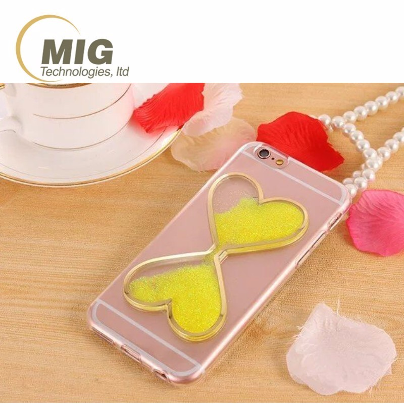 Phone case soft tpu materail 3D heart shaped wine grass style quicksand liquid case for iphone 6s 7 8 for galaxy s8 plus