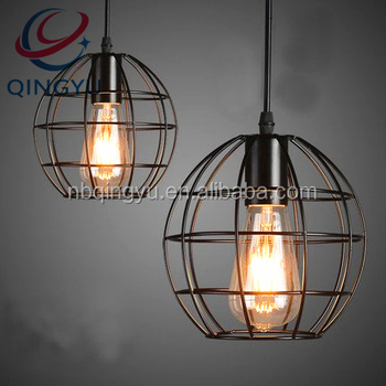 St64 Edison Bulb Cage String Lights Hanging Pendant Metal Iron Wire Fixture Lamp Light