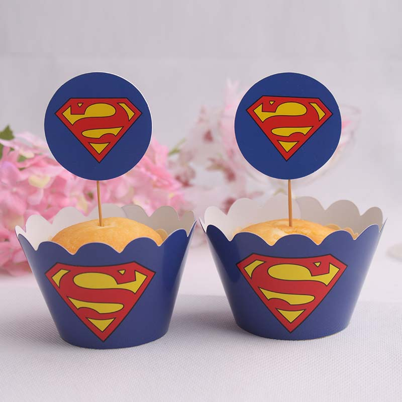 657e48717b1 superman paper cupcake wrappers   toppers picks kids birthday wedding  favors baby shower decoration