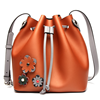 Brand High Quality Women Chic Crossboday Bags Fashion Flower Design Candy Color Genuine Leather Drawstring Bucket Bag