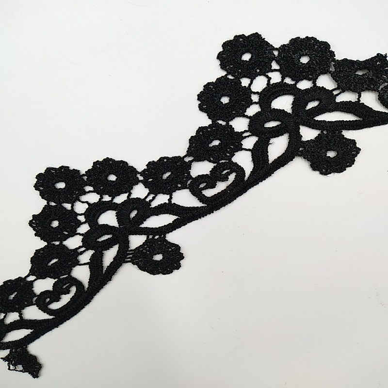 Chemical Lace Black Cotton Floral Embroidered Lace Trim