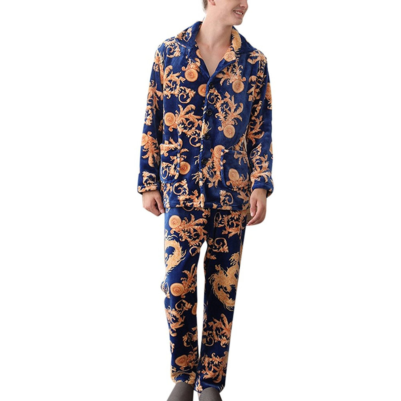 fd3b24e66f Get Quotations · Zhhlinyuan Premium Quality Mens Winter Warm Plush Fleece Pyjama  PJ Set Nightwear