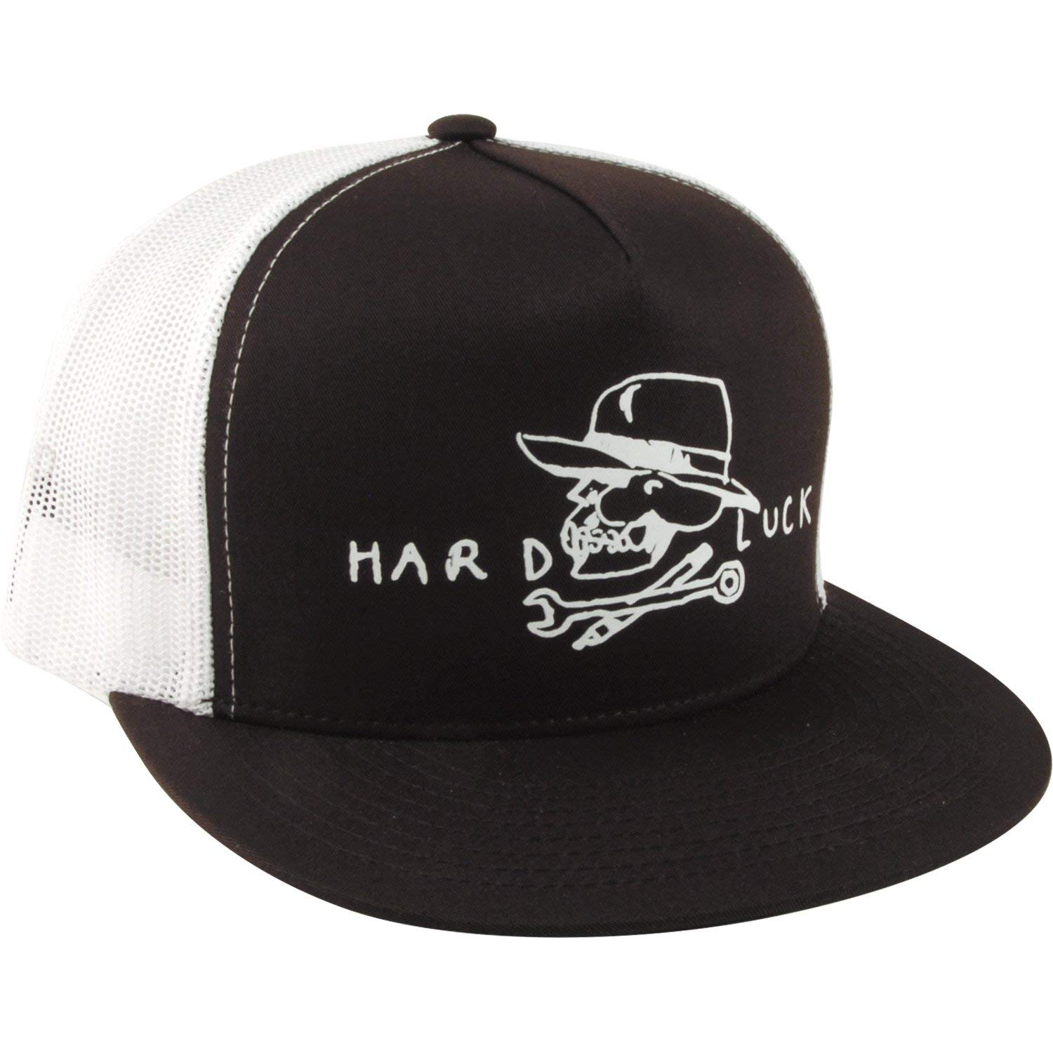 5140726b466 Get Quotations · Hard Luck MFG Hard Skull Black White Mesh Trucker Hat -  Adjustable