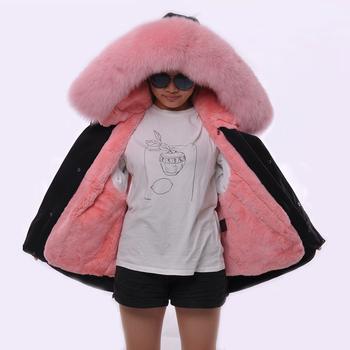 562055d492e4b Real Fox Fur Coat Wholesale Rabbit Fur Lining Parka Jacket Women Winter  Long Style Pink Fur