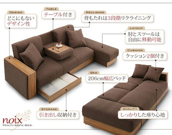 Multifunctionele stof slaapbank woonkamer sofa houten frame