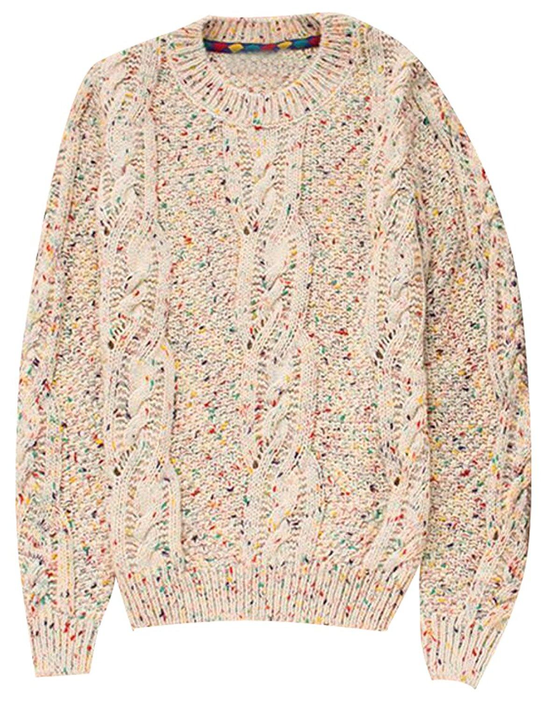 desolateness Men Knit Crewneck Sweater Pullover Contrast Color Stripes Top