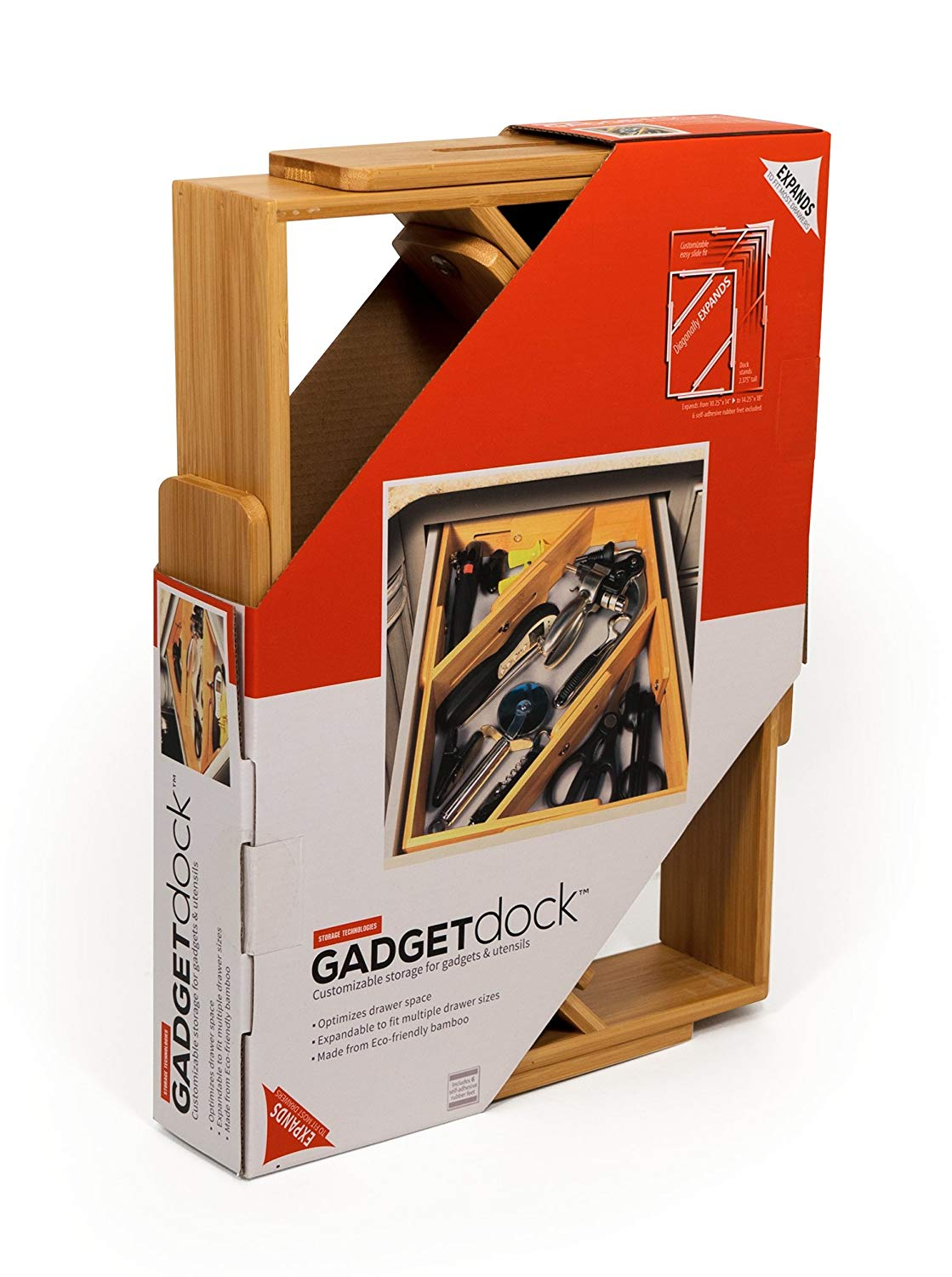 "GADGETdock (14"" x 10"" x 2.375"") stores all your bamboo gadget's, utensil's, and gizmo's. This bamboo organizer scales to fit your drawer. Larger or smaller footprints don't matter it fits your needs."
