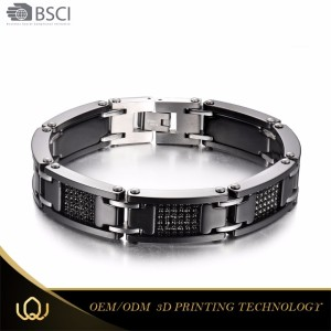 Longqueen Elegant stainless steel Good health men black hand chain power band titanium bracelet