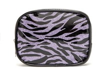 purple glitter travel cosmetic bag, zebra stripe pu cosmetic bag, womens make up bag