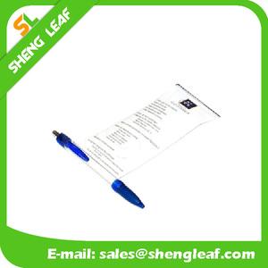 Clear pen barrel flag pen