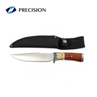 Fixed Blade Bowie Hunting Knife Outdoor with Wooden Handle