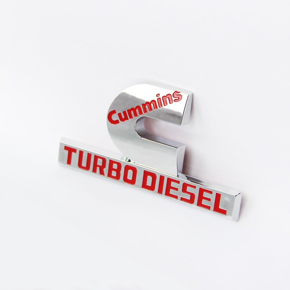 Yoaoo 1x OEM Red Dodge Cummins Turbo Diesel Emblem Badge High Output for RAM 2500 3500 Fender Emblem Chrome