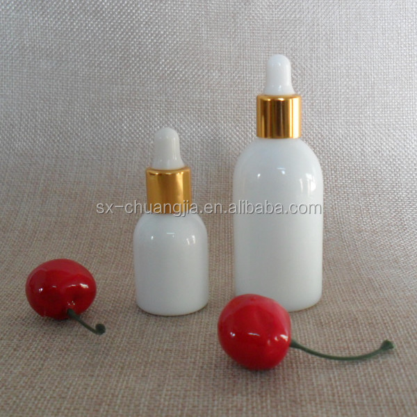 Hot sale cosmetic 10ml 20ml small mouth opal white essential oil glass bottle with dropper