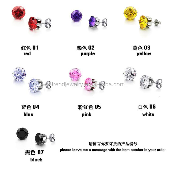 Stainless steel claw set ,bezel set ,pave set cz stud earring factory from china