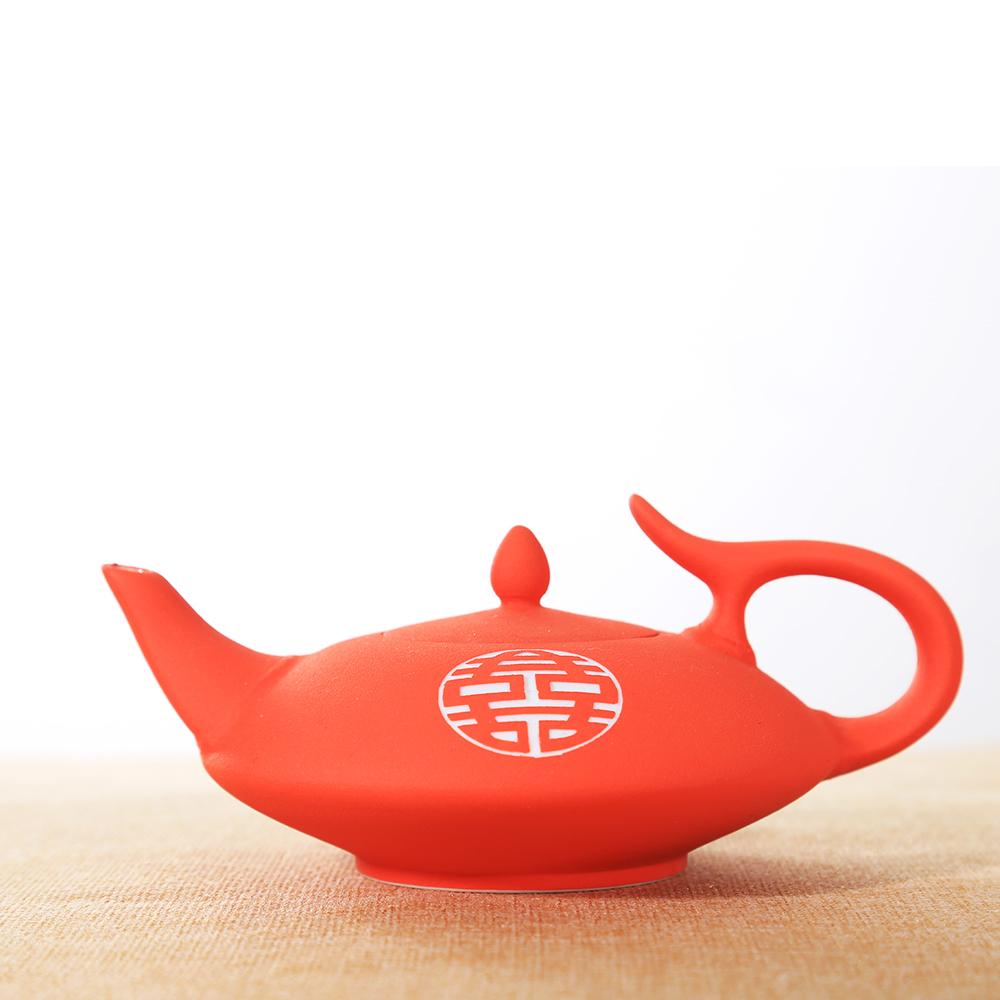 Cina merah kebahagiaan ganda desain tea sets dengan teko untuk dekorasi pernikahan