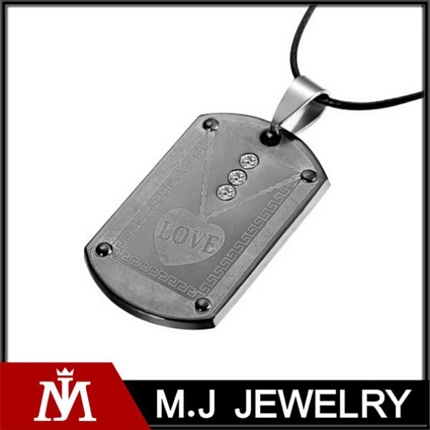 Cheapest in stock stainless steel pendant crystal fashion dogtag for lovers