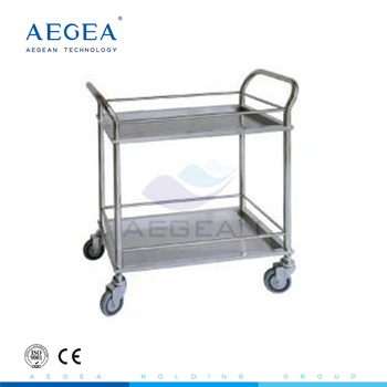 AG-SS022 hospital 304 stainless steel food tray trolley with five silent wheels