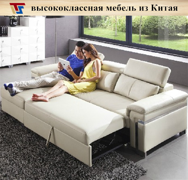 Cheap Furniture Free Shipping: Real Leather Black Gray Brown Corner Sofa Bed Sleeper