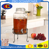 8L Glass Beverage Dispenser glass water bottle with clip lid iron shelf