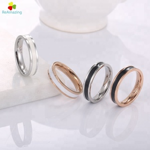 Fashion GoldTwo-color Silicone Stainless Steel Couple Rubber Finger Wedding Ring
