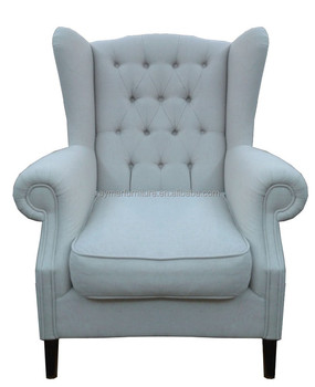 Living Room High Back Tufted Fabric Armchair Wing Chair