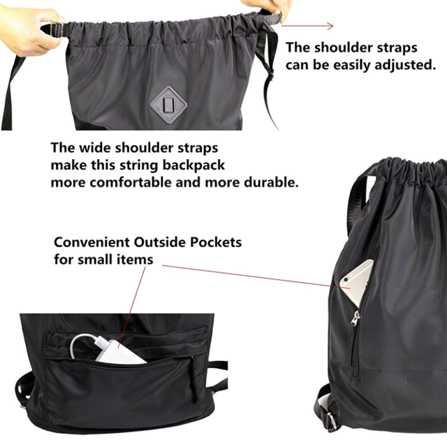Osgoodway China Wholesale Custom Waterproof Unisex Drawstring Backpack Sport Rucksack for Adults and Children