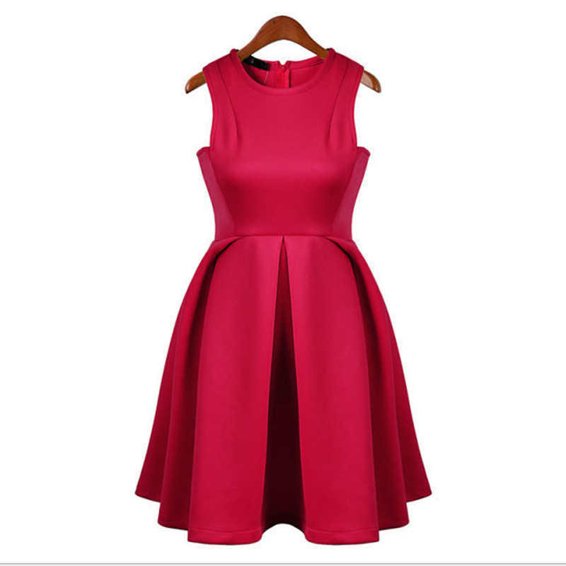 Sexy women vest sleeveless ployester mini O-neck solid box pleat spring summer red designer one piece party dress
