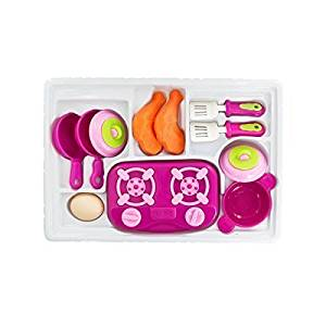 Mini Kitchen Play Set with Stove Top, Realistic Food Items - for Girls, Children 3 years old and up, above - Great Fun for Kids, Pretend Play, Average Quality - Nice Gift Item in Attractive Packaging