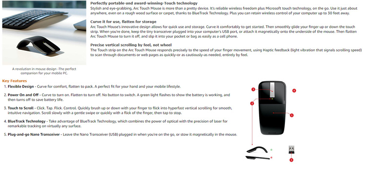 New Lipat Mouse 2.4GHz Arc Optical Touch Wireless Mouse dengan USB Receiver untuk Notebook
