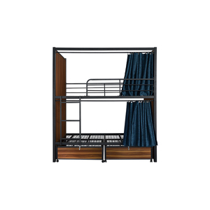 Industrial designs dormitory bed stainless steel double bunk bed with desk