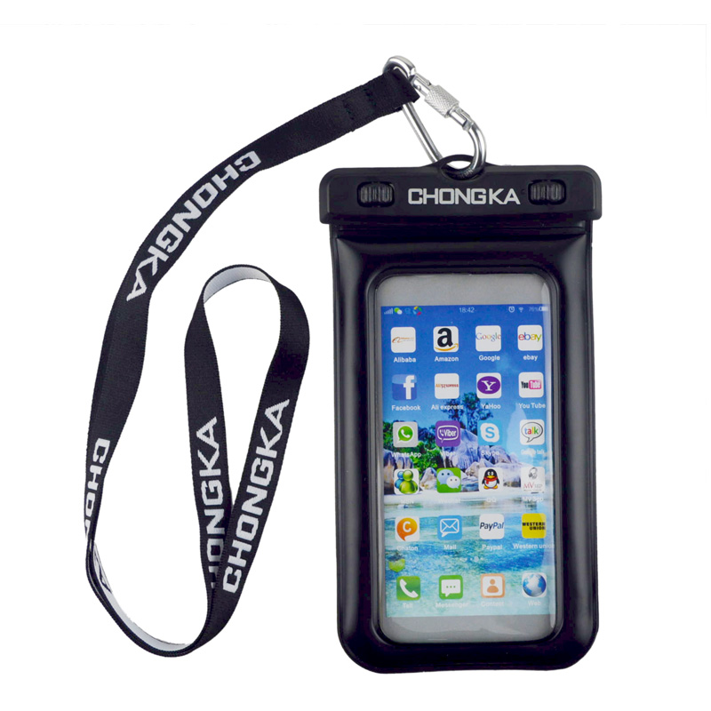 Black waterproof swimsuit bag for smartphone