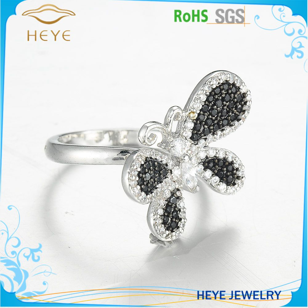 New Design Butterfly Shaped Plain Gold Plated finger rings with cubic zirconia