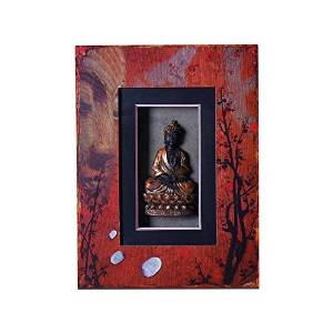 Adeco Decorative Wood and Resin Wall Hanging Buddha Plaque Shadow Box Sign Plaque Red, Black Home Decor