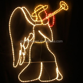 animated 118cm high motif rope lights led christmas angel with trumpet