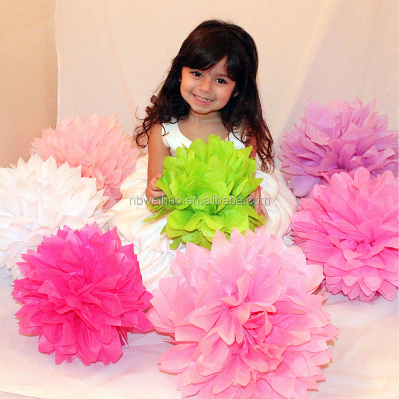 hanging tissue pom poms home decoration paper flower