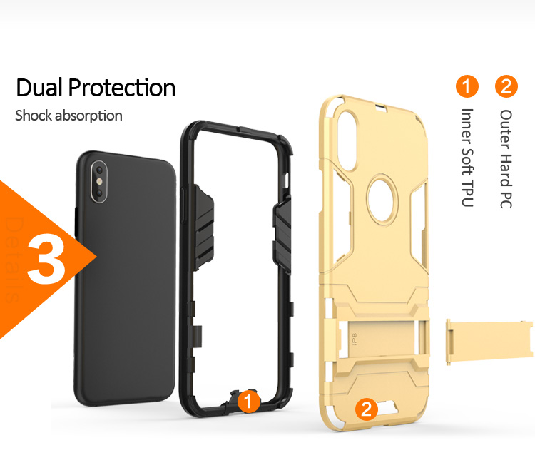 Best Selling tpu pc phone case for iphone x kickstand custom case