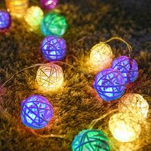 Foxanon 2,5/5 м светодиодная гирлянда из ротанга с шариками RGB светодиодные сказочные огни для вечеринки рождественское свадебное украшение ночн...(Китай)