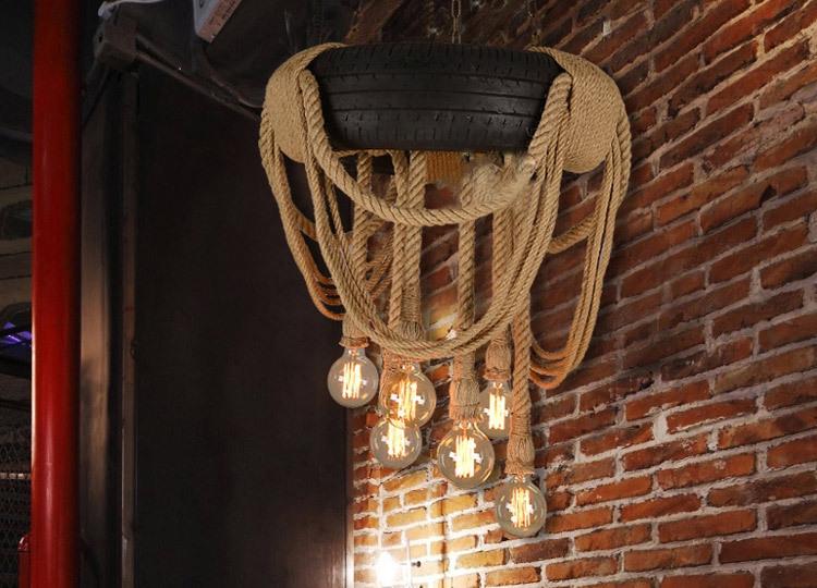 Creative American Hemp Rope Droplight Industrial Wind Tire ...
