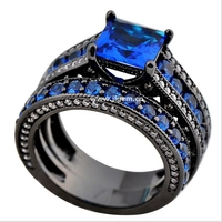 Blue Zircon AAA CZ Black Brass Plated Black Gold Engagement Wedding Double Ring For Women