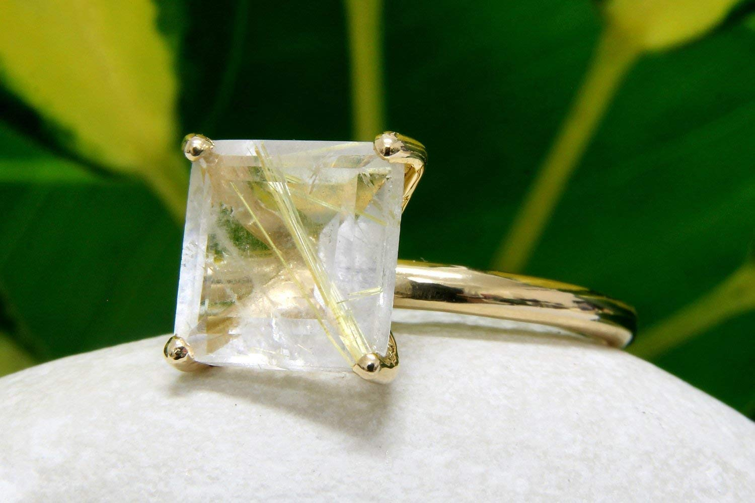 square ring,gold ring,prong setting ring,thin stack ring,stone stacking ring,gold stackable ring,quartz ring