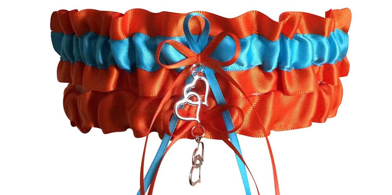 Just Fun Garters Orange and Turquoise Wedding Garter Set, Bridal Garter Set, Prom Garter Set, Garter Belt