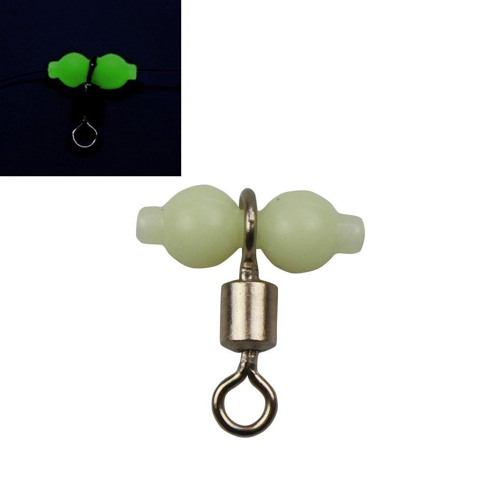 100Pcs Triple Swivels 3 Way Glow Beads Fishing Swivels Barrel Hooks Connector