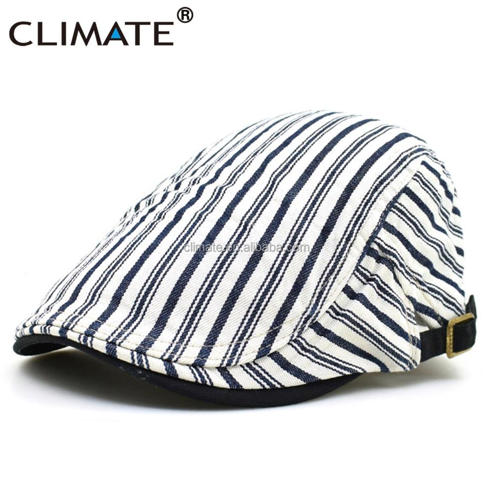 Clima mujeres hombres tapa boina plana casual ajustable artista pintor raya  denim de algodón blanco Caballero 4437612871e