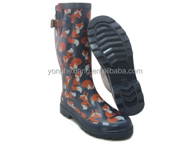 Fox printing upper rubber outsole rain boot