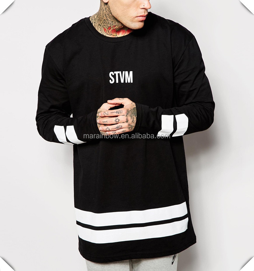 Black 100% Cotton Mens Long Sleeve T shirt Fashion Street Wear Custom Printed Oversized T shirt